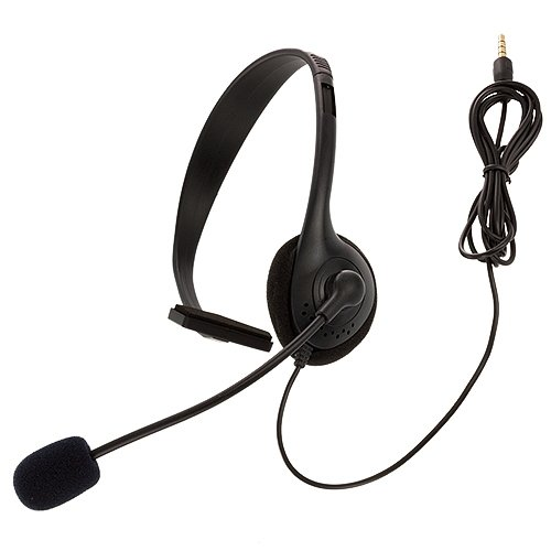 Cell Accessories For Less (Tm) Black Office Boom Over The Head Headset (3.5Mm) + Bundle (Stylus & Micro Cleaning Cloth) - By Thetargetbuys