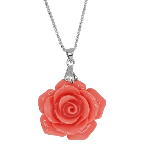 30MM Simulated Pink Coral Carved Rose Flower Pendant With 18