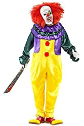 Smiffy's Men's Classic Horror Clown Costume with Jumpsuit and Mask