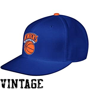 New York Knicks Blue Mitchell & Ness Hardwood Classics Basic Logo Fitted Hat by Mitchell & Ness