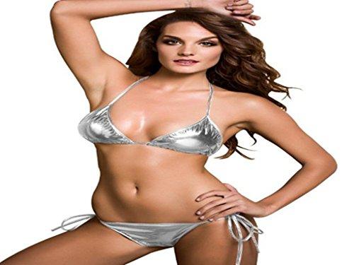 Amour- Hot Sexy Erotic Sexy Metallic Bikini Set Stripe Wear Valentine'S Day Gift (Silver-1)