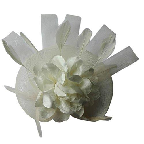 [Women's Fascinator Hair Clip Cocktail Wedding Headpieces Flower Tea Party Hat Beige] (Ganster Hat)