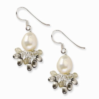 Sterling Silver Citrine and Cream Freshwater Cultured Pearl Earrings