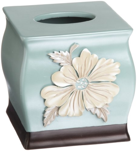 Popular Bath Flower Blossom Tissue Box, Aqua