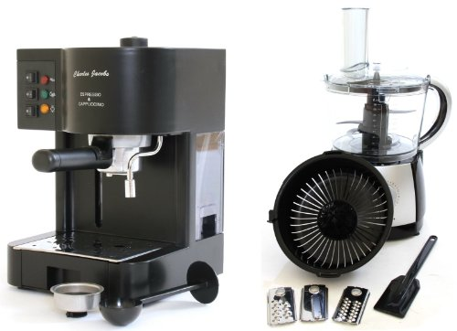 PACKAGE DEAL Charles Jacobs 15 Bar Pump COFFEE - ESPRESSO Italian Style MACHINE in Black 12 MONTHS WARRANTY + 2.5 Litre Powerful Food Processor with 10 Speeds plus Pulse in BLACK from Charles Jacobs from Charles Jacobs
