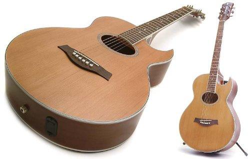 Electro Acoustic Guitar: Solid Cedar Top Electro Acoustic with Florentine Cutaway