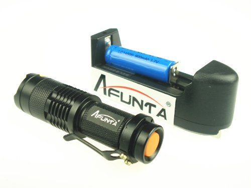 Afunta 7W 300Lm Mini Flashlight Cree Q5 Led Adjustable Focus Zoom(With Rechargeable Battery & Charger)