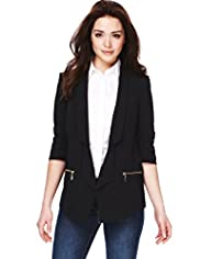 Petite Shawl Collar Open Front Zip Pockets Tailored Jacket