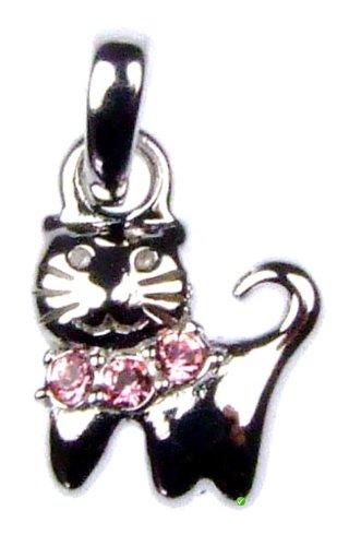 Bambini Ciondolo gattino con pietre Swarovski collana rosa