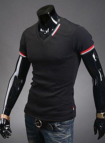 ZGY Sexy Neu Herren Muskel Casual Kurzarm Hemd Poloshirt T-Shirt Hemden Tops M-L (Asien XXL = EU L, Schwarz)