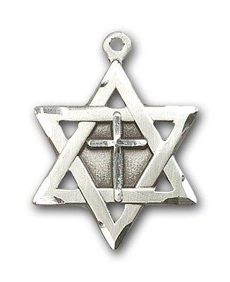 Sterling Silver Star of David W/ Cross Medal