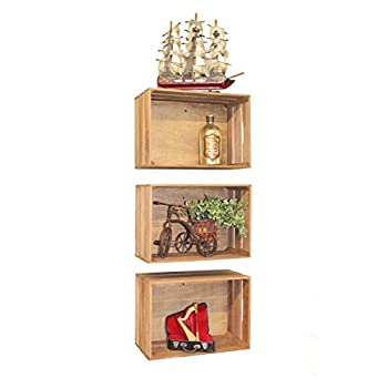 Vintiquewise(TM) Antique Style Wooden Crates, Set of 3