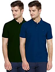 Polo NationMen Solid Cotton Polo T-Shirt Pack Of 2
