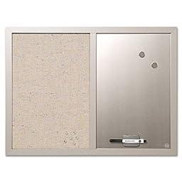Combo Bulletin Board, Bulletin/Dry Erase, 24X18, Gray Frame, Sold as 1 Each