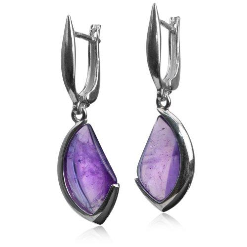 Sterling Silver Imitation Amethyst Free Form Earrings