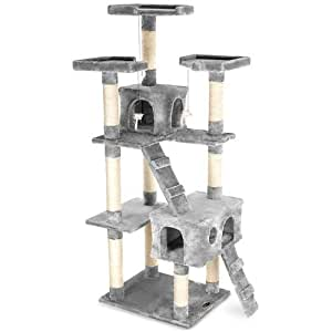 Happypet CAT002-2 Cat Scratcher Cat Tree Activity Centre Scratching Post medium-sized 1,80 tall Grey