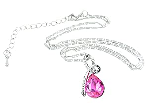 eFuture(TM) Rose Red Eternal Love Teardrop Crystal Pendant Necklace +eFuture's nice Keyring
