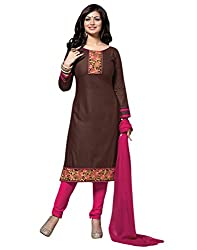 Surat Tex Brown Color Party Wear Embroidered Cotton Un-Stitched Dress Material-G982DL11ZE