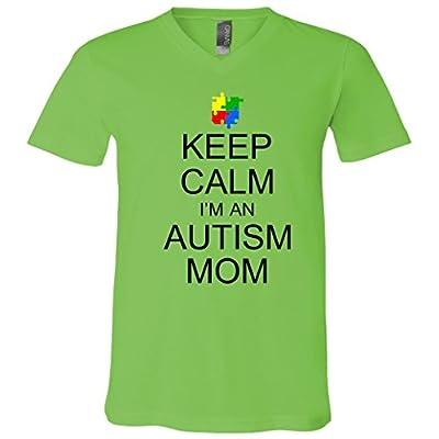 Keep Calm Autism Mom Awareness V-Neck T-Shirt