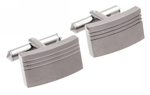 Unique Titanium Grooved Oblong Cufflinks