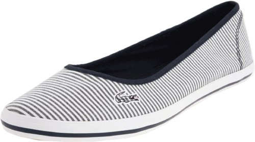LACOSTE Marthe 5 Slip On Seersucker Flats Womens Shoes Blue Size 8
