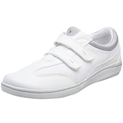Grasshoppers Women's Stretch Plus Velcro Sneaker,White,5 M US