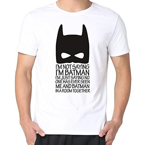 JaHa Men's Marvel Comics Classic Mask Batman Tshirt White XL