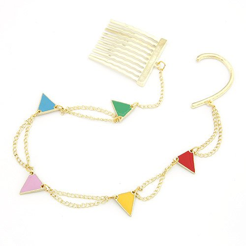 Multi-Colored Triangle Charms Hair Jewelry Comb and Ear Cuff