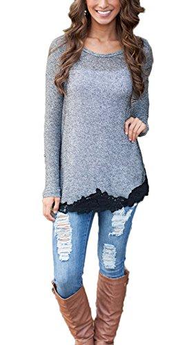 Summer-Mae-Womens-Long-Sleeve-Black-Lace-Hem-Casual-Blouse-Tunic-Top