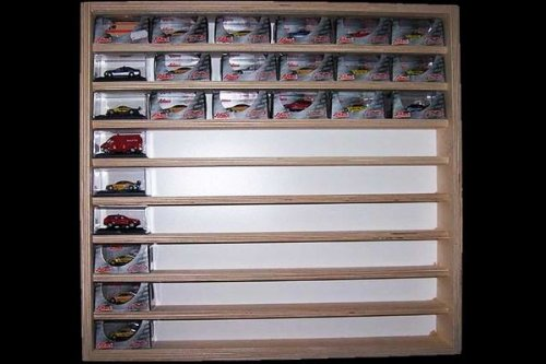 V09- Wall showcase cabinet box 21,25'' x 21,65'' x 2,75'' (54 x 55 x 7,5 cm) display case for N and Z scale with 2 clear plexiglas sliding panes, which open in both directions, collection model miniature wood collector of small scale diecast vehicles Mini