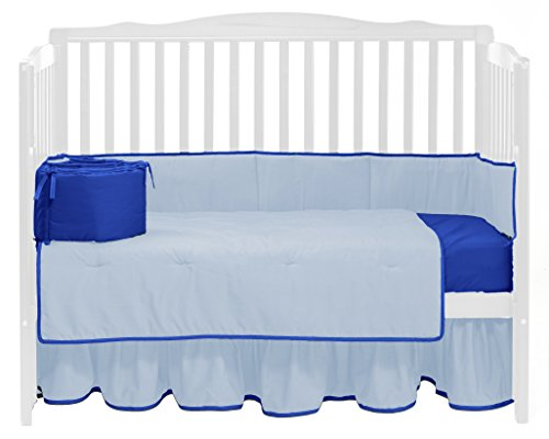 Baby Doll Solid Reversible Crib Bedding Set, Light Blue/Royal Blue