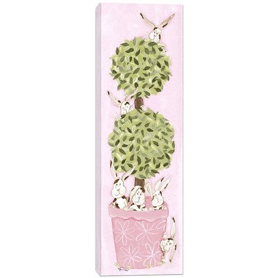 Doodlefish DB1520s Bunny Topiary Artwork, Stretched Canvas