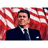 (24x36) President Ronald Reagan (American Flag) Art Poster Print