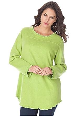 Roamans Women's Plus Size Sherpa Fleece Tunic (Avocado Green,S)