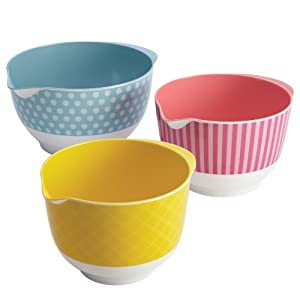 Cake Boss Countertop Accessories 3-Piece Melamine Mixing Bowl Set, Basic