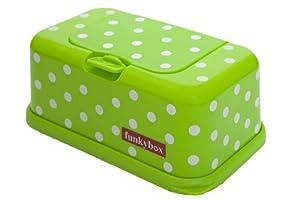 Funkybox - Cajita para toallitas húmedas - Verde con lunares blancos por Funkybox - Bebe Hogar