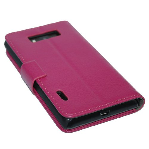 Bingxay Litchi Antiskid Leather Flip Pink Cover Elegance Cover Case Wallet Stand For Lg Optimus L7 P700 P705