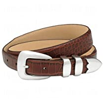 Double Eagle Mens Croco Embossed Leather Belts