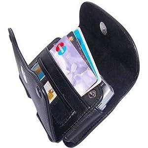RIM BLACKBERRY 8900 CURVE (T-MOBILE), 9630 TOUR, 8520 (T-MOBILE), 9550 STORM 2 (VERIZON), 9700 ONYX (T-MOBILE), CURVE 8530, BOLD 9650 Black Horizontal Elegant Faux Leather Pouch Cover Case With Card Slots and Belt Clip .[WCF6]