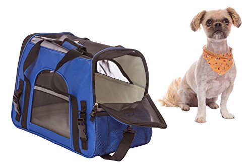 Airline Approved Pet Travel Carrier for Dogs Cats and Puppies Features Soft-Sided Foldable Design with Adjustable Detachable Shoulder Strap
