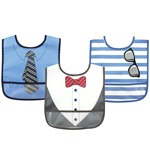 Luvable Friends 3 Piece Waterproof Bibs with Crumb Catcher, Boy Tie - 1