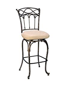 Hillsdale Kendall 30-Inch Bar Stool, Pewter and Bronze Highlighted Finish with Beige Faux-Suede Fabric
