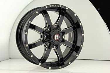 Ballistic 955 Anvil 20×9.0 Gloss Black & Milled Wheel 6x135mm 6×139.7mm (5×5.5) Bolt Pattern / -12mm Offset / 100.4mm Hub Bore