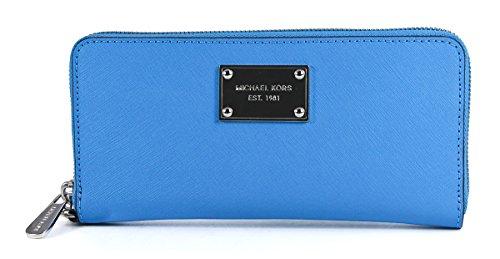 Michael Kors Tech Continental Saffiano Leather Summer Blue Wallet