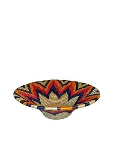 Asian Loft Large Orange Hand-Woven Lutindzi Grass Wicker Bowl, Beige/Orange/Black/Green
