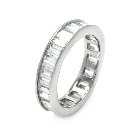 Magnificent Solid Sterling Silver Baguette Diamond Color Cubic Zirconia Eternity Band, Includes Gift Box and Pouch. (5)