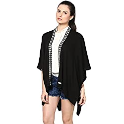 Pluchi Fashion Knitted Cotton Poncho Laura-Black / Ivory