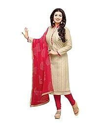 Dress Material Cream Chanderi Salwar Kameez for womens