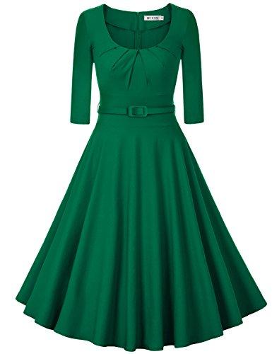 MUXXN Women's Vintage Scoop Neck A Line Formal Juniors Dress(2XL Green)