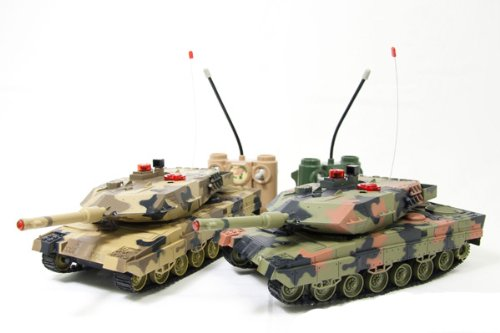 2-Set M1A2 Abrams Main Battle Tanks RC 1/24 Infrared LED Tank R/C US MBT